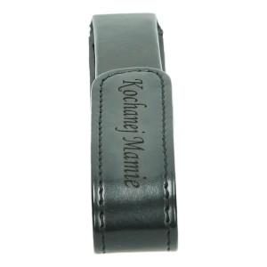 Czarne etui na długopis lub pióro z grawerowanym napisem 0661_2 Etui na długopisy
