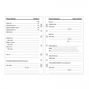 Wkład kalendarzowy do organizera A-5 tydzień na dwóch stronach 2