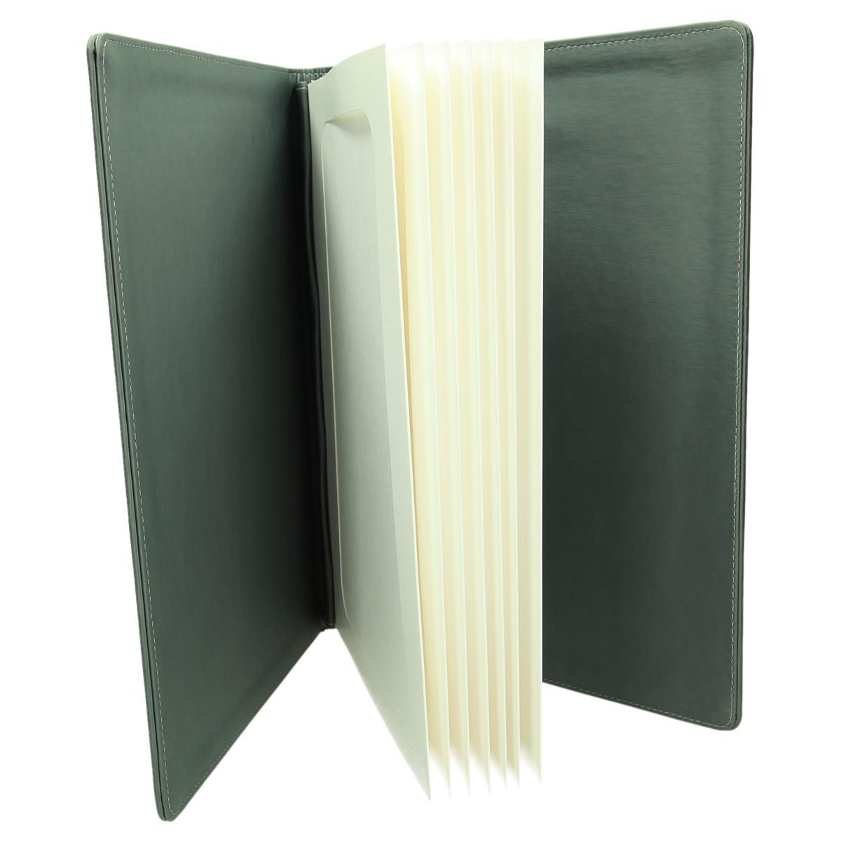 Szara okleina o strukturze tkaniny w delikatne prążki 0962_1 Okładki na karty menu