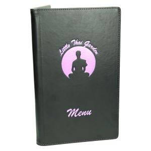 Oprawa czarny-mat, przeszycie fioletowymi nićmi 1111_1 Okładki na karty menu