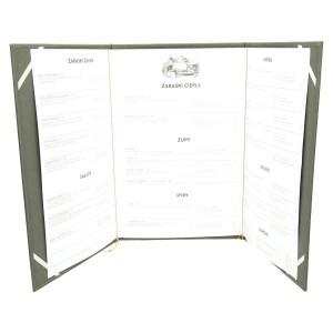 Trzyczęściowa karta menu z tabliczką z laminatu grawerskiego 1119_2