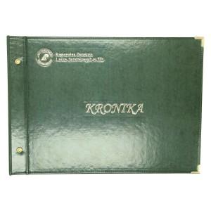Złocony logotyp na zielonej eko skórze 3004_1 Kroniki, księgi